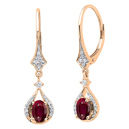Dazzlingrock Collection 14K 6X4 MM Each Oval Ruby & White Diamond Ladies Dangling Drop Earrings, Rose Gold 14k 6x4mm Oval Ruby Earring