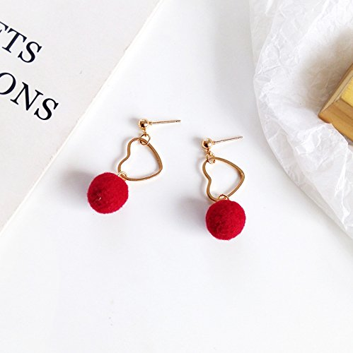18K Gold Plated Two-tone Hollow Heart Charm with Red Plush Round Balls Tassel Drop Earrings