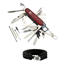 Victorinox Swiss Army Knife Champ XLT (Transucent Ruby) + Victorinox Paracord Bracelet