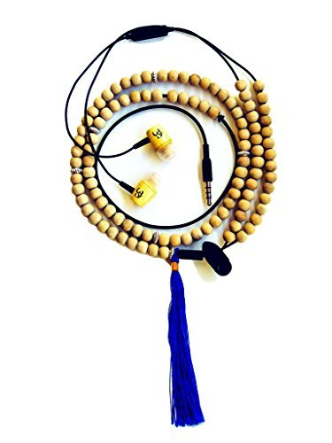 Price comparison product image Organic Affinity Omphones Positive Energy Mala Earbud Headphones Sandalwood and Metal Mala Bead - Smartphone Compatible - Comes With Storage Pouch - Volume / Stop / Start Control Functions on Wire
