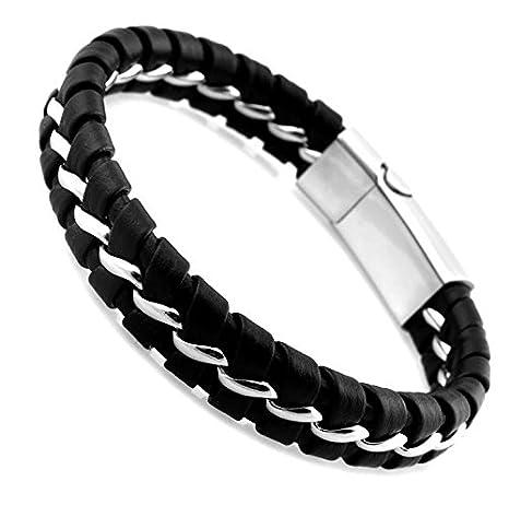 9c7036950fa3 UEETEK Chicos moda hombres cuero de la PU suave de punto cadena de acero  inoxidable magnética