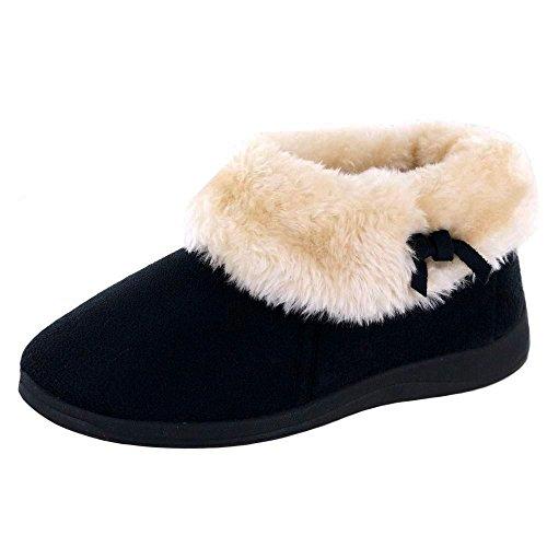 Para mujer Dunlop Bessie piel sintética cuello tobillo botas negro