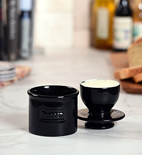 The Original Butter Bell Crock by L. Tremain, Café Retro Collection, Butter Keeper - Glossy Midnight Black by Butter Bell (Image #2)