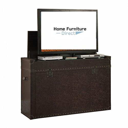 (Touchstone Home Products Ellis Aged Cigar Trunk End of Bed 50 Degree Swivel TV Lift Cabinet)