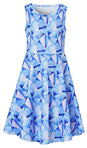 Blue Pink Geometry Sundresses for Small Kids Age 6 7 8 Years Hawaiian Print Math Polygon Ruffles Round Neck Knee Length Fairy Dressy Frocks in Graduation Prom Formal Occasions -