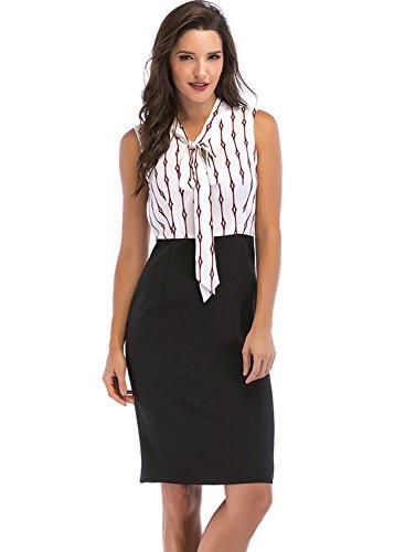 Lefancy Women's Tie-Neck Sleeveless Color-Block Stripe Summer Office Sheath Pencil Dress for Work Knee Length (L, (Knee Length Sheath)