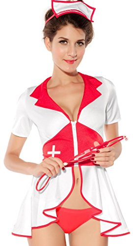 IF FEEL Women's Sexy Nurse Uniforme Cosplay Costume Set For Halloween (One size, LC8055)
