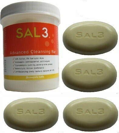 4 Pack- SAL3 Cleansing Bar - in special Suds Jar + 3 replacement soap bars - 3% salicylic acid, 10% sulfur by SAL3