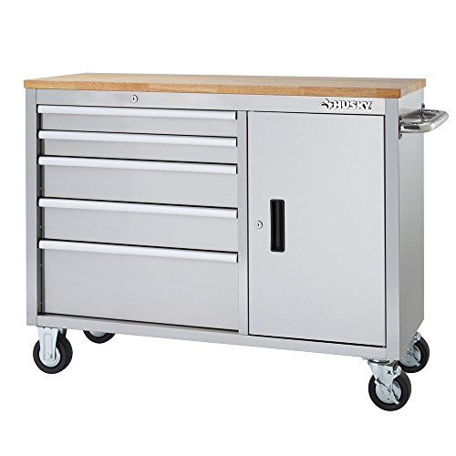 46 in. 5-Drawer and 1-Door Stainless Steel Mobile Workbench
