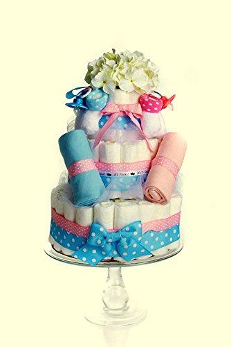 Amazon.com: Gemelos pañal Cake- Rosa & Azul (3 niveles): Baby