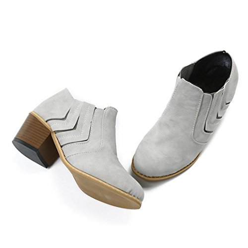 Womens Ankle Martin Ladies Warm Shoes Boot Boots High Faux Casual Inkach Snow Gray Fur Lining Heels AwCq5q