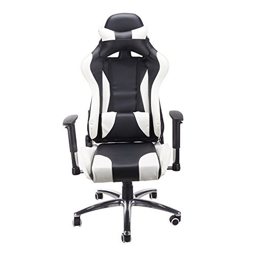 CO-Z Ergonomic High Back Rest Back Neck Support Recliner Swivel Rocker Adjustable Height Racing Style Office Desk Gaming Chair (Black and White)