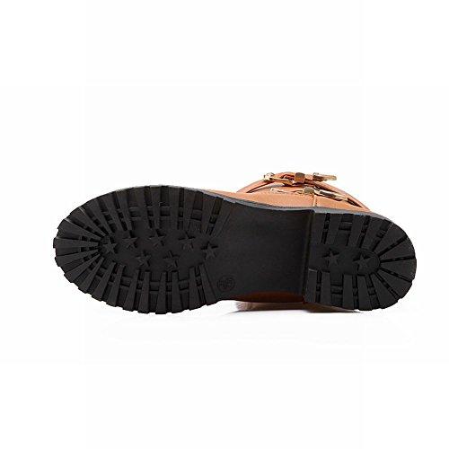 Carolbar Womens Comfort Casual Buckles Fashion Vintage Low Heel Short Boots Brown OiZuj