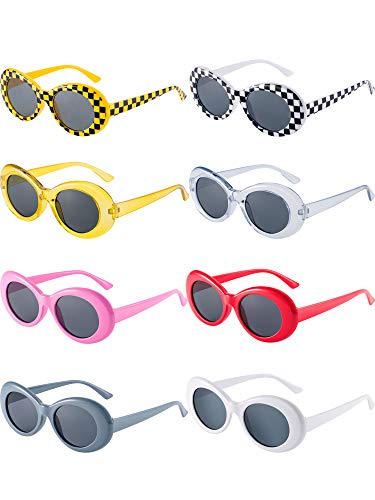 Blulu 8 Pairs of Retro Oval Mod Thick Frame Sunglasses 8 Colors Women Men Girl Boy Sunglasses (Color ()
