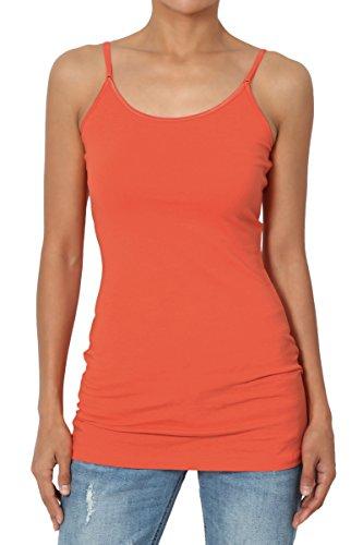- TheMogan Women's Adjustable Thin Strap Cotton Long Cami Tank Top Copper 2XL