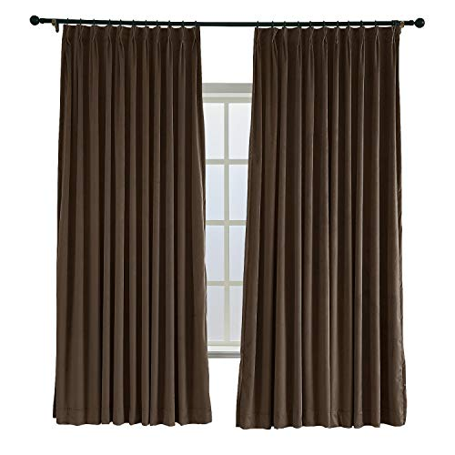 (ChadMade Pinch Pleated 100W x 96L Blackout Lined Velvet Curtain Drapery Panel for Traverse Rod or Track, Living Room Bedroom Meetingroom Club Theater Patio Door (1 Panel), Chocolate)