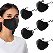 Black Face Mask , 5-Pack Unisex Cloth Washable Reusable Face Cover , Cotton Inner Layer Comfortable & Brea