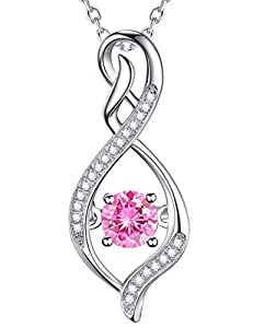 October Birthstone Pink Tourmaline Necklace Infinity Love Pendant Sterling Silver Swarovski Jewelry Birthday Gifts for Women