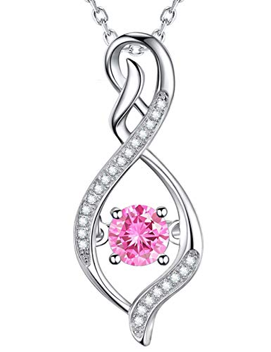 Fine Jewelry Gift Infinity Pendant Pink Tourmalin Necklace October Birthstone Sterling Silver Anniversary Jewelry Gift for Her Birthay Gifts for Women Mom Wife Girls