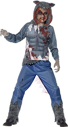 Smiffy's Tween Boy's Deluxe Wolf Warrior Costume, Hooded Top and Trousers, Serious Fun, Color: Grey and Blue, Ages 12+, 44296
