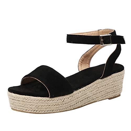 Women's Ladies Strap Ankle Buckle Platform Wedges Woven Sandals Roman Shoes Black ()