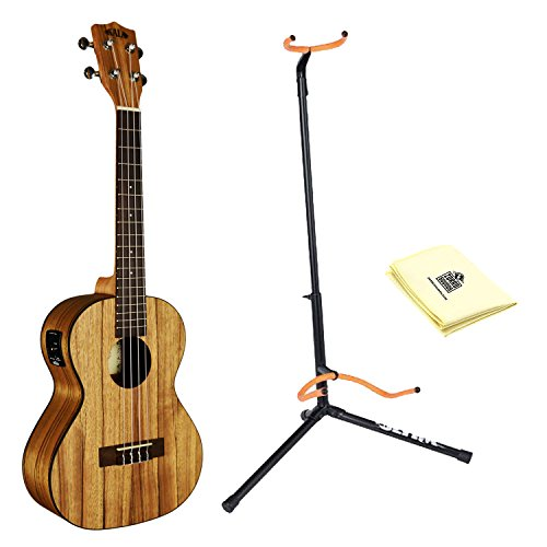 Kala KA-PWT Tenor Satin/Pacific Walnut Ukulele with Ultra 2445BK Basic Guitar Stand and Custom Designed Instrument Cloth Ultra 2445bk Guitar Stand
