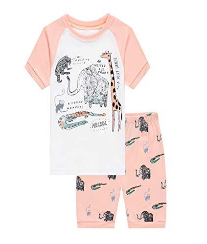 (Barara King Little Girls Giraffe Snug-Fit Pajamas 100% Cotton Pink Pjs Clothes Infant Kid 2T )