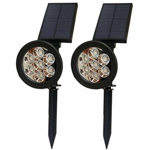 Solar Pathway Uplight 7 LED Wall Lawn Color Changing Outdoor Landscape Spotlights For Tree Garage In-Ground Garden Night Waterproof Security Path Patio Yard Driveway Floodlight 2 PACK by POPPAP