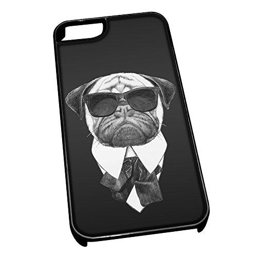 Nero-Cover per iPhone 5/5s, motivo carlino 0594 in tuta, colore: nero