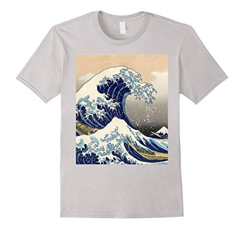 Japanese Fashion Clothing - Mens The Great Wave off Kanagawa by Hokusai T Shirt Medium Silver