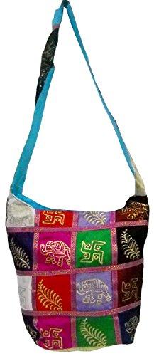 Hand Block Printed Om Aum Design Multi Color Indian Boho Shoulder Sling Bag #215