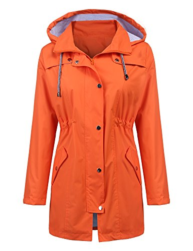 Raincoat Women Waterproof Long Hooded Trench Coats Lined Windbreaker Travel Jacket (Orange, S)