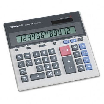 Sharp® QS2130 Commercial Desktop Calculator CALCULATOR,12DIGIT,SOLAR 70841 (Pack of2) by Sharp