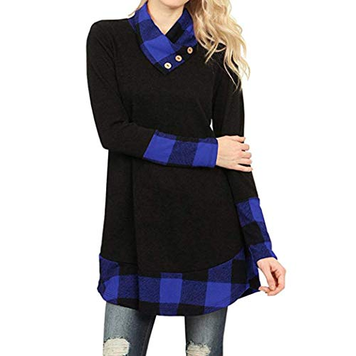 Realdo Clearance Womens Casual Cowl Neck Plaid Long Sleeve Button Tunic Shirts Blouse (Beaded Thigh High Stockings)