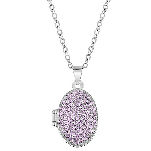 5 Sterling Silver Cubic Zirconia Pink Locket for Girls Oval Photo Necklace 16