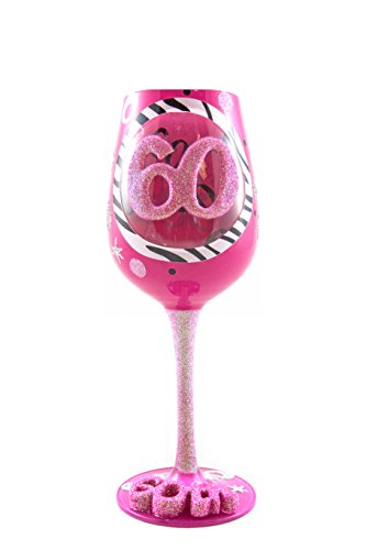 Top Shelf 60th Birthday Wine Glass – Hand-Painted - Unique Gifts for Women ()
