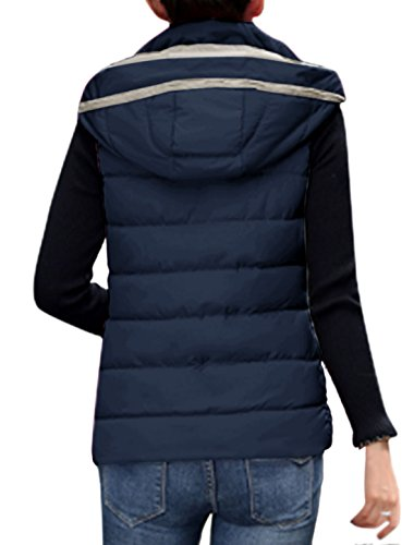 sourcingmap Mujer Capucha Desmontable Cuello Alto Entallado Lighweight Chaleco De Plumón Abrigo Azul marino