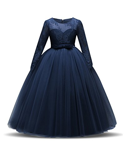 Teenagers Big Girl Princess Embroidery Dress Flower Lace Princess Kids Bridemaid Dresses For Wedding Girls Party Prom Long Sleeve Cute Beautiful Size 13 14 Elegant Pageant Gowns (Navy Blue, 170)