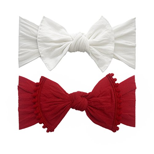 - Baby Bling Bow 2 Pack: Trimmed and Classic Knot Girls Baby Headbands - MADE IN USA - White/Cherry