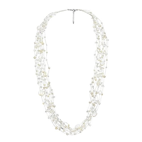 AeraVida Floating Cultured Freshwater White Pearl and Stone Beauty Multi Silk Strand Layered Necklace ()