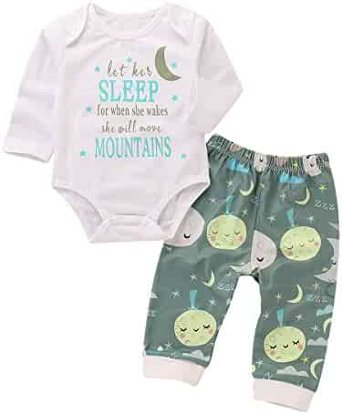 065ff2d6f65e1 Mini honey Newborn Baby Boy Girl Long Sleeve Letter Print Bodysuit Tops+Cute  Moon Print