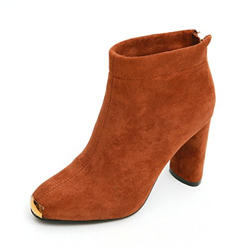 KHSKX-Martin Winter Boots Female All-Match Korean Head Coarse With Boots Suede Metal Pieces Of Bare Boots Caramel color wAxJq35PN