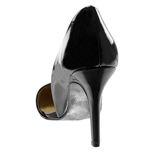 de Stiletto Decollete Escarpín Tacón Tacón 9 Patentes Moda Zapatillas Mujer Angkorly 5 Negro Alto On Aguja cm Slip IHwqPUKRx