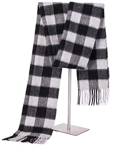 Cashmere Wrap Shawl Stole for Women, Winter Extra Large(79in x 28in) Wool Scarf (GREY CHECK)