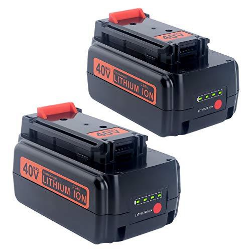 (Lasica 2Pack LBXR36 Battery 40V 3000mAh Replacement for Black+Decker 40-Volt Trimmer Blower LST136 LSW36 Lithium Battery LBXR2036 LBX1540 LBX2040)