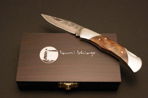 IZUMI ICHIAGO - Little Fox Folder - Japanese Damascus Steel , with precious wooden box ()