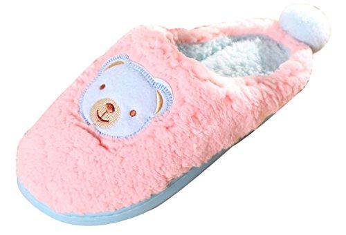 2015 Nuovo Blubi Womens Testa Dorso Carino Pantofole Autunno Casa Pantofole Rosa