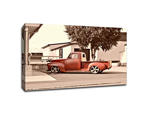 Classic Red Truck Printed on a 16x24 Gallery Wrapped Canvas. Comes Ready to Hang on Your Wall in just Minutes. Perfect for The Traveler in Your Life.