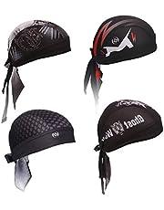 FST 4 Pack Bandana Skull Cap Quick Dry Adjustable Beanie Cap Summer Moisture Wicking Helmet Liner (Bandana), 7*7*1.5