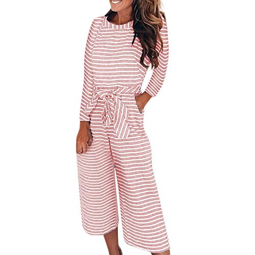 - Womens Jumpsuits Hot Sale, DEATU Ladies Juniors Long Sleeve Stripe Jumpsuits Loose Playsuit Long Wide leg Trousers(Pink,S)